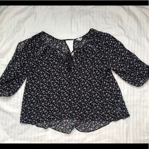 Forever 21 Black Floral Chiffon Blouse